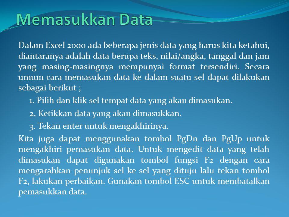Dalam Excel 2000 ada beberapa jenis data yang harus kita ketahui, diantaranya adalah data berupa teks, nilai/angka, tanggal dan jam yang masing-masing