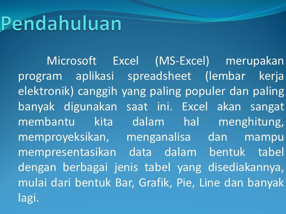 Microsoft Excel (MS-Excel) merupakan program aplikasi spreadsheet (lembar kerja elektronik) canggih yang paling populer dan paling banyak digunakan sa