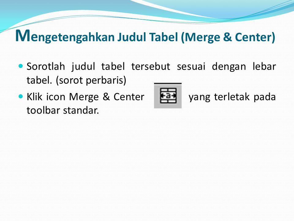 M e ngetengahkan Judul Tabel (Merge & Center) Sorotlah judul tabel tersebut sesuai dengan lebar tabel. (sorot perbaris) Klik icon Merge & Center yang