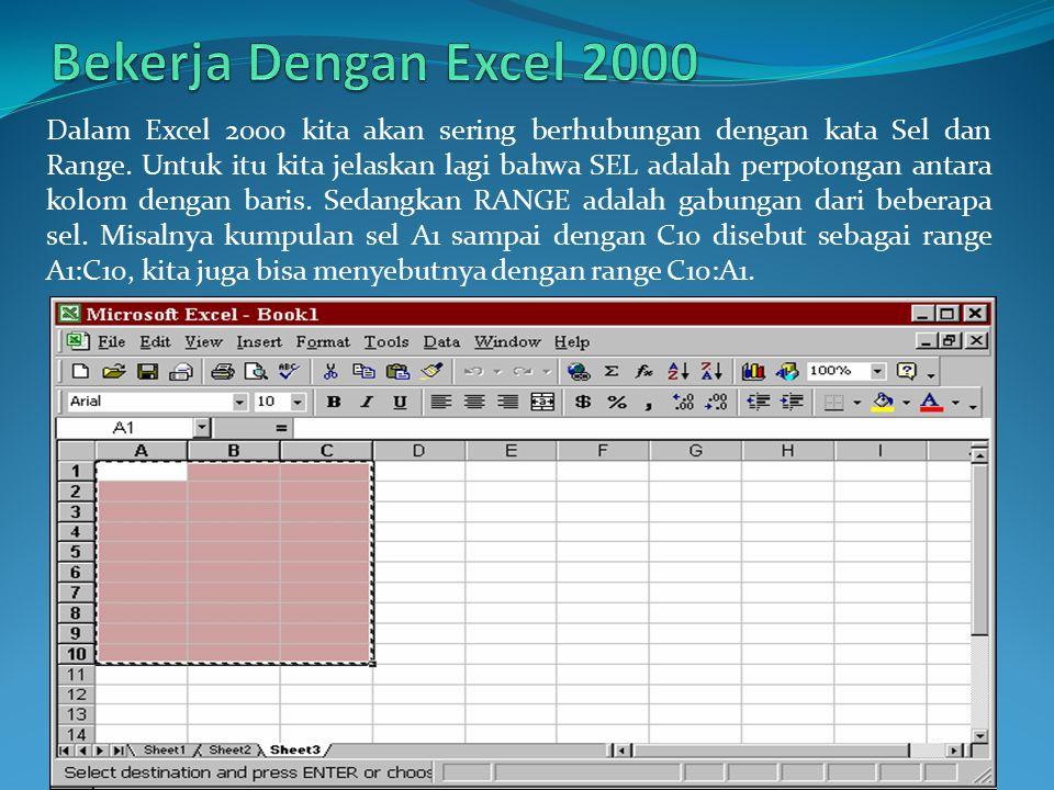 Dalam Excel 2000 kita akan sering berhubungan dengan kata Sel dan Range. Untuk itu kita jelaskan lagi bahwa SEL adalah perpotongan antara kolom dengan