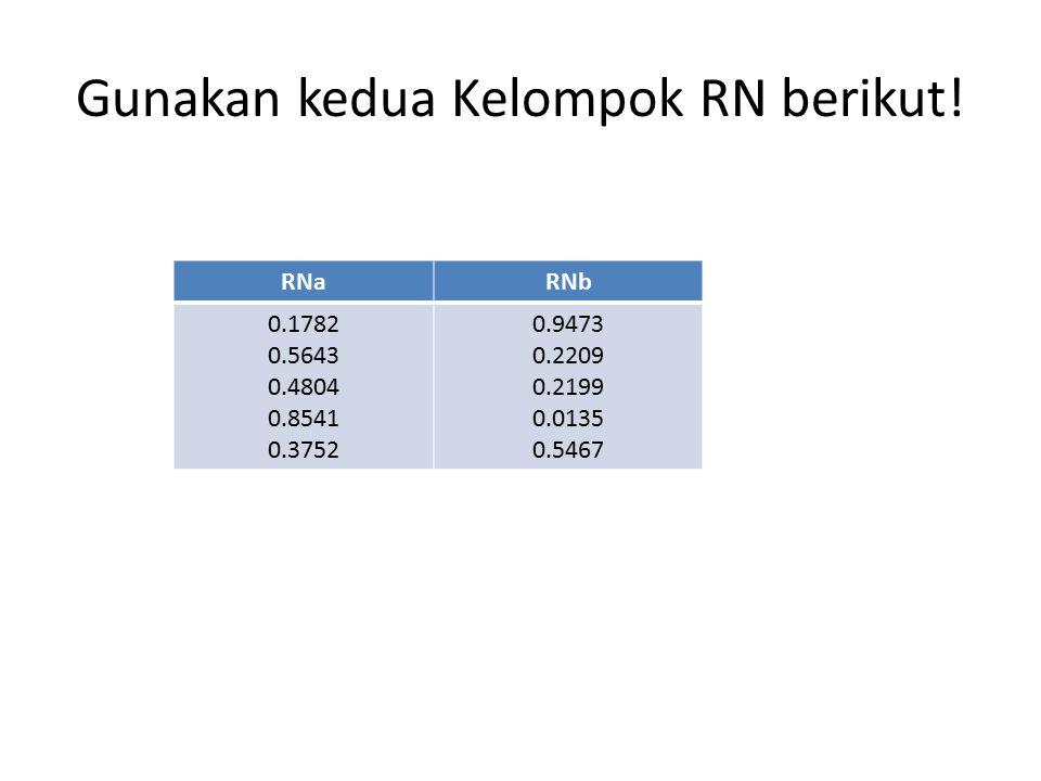 Gunakan kedua Kelompok RN berikut! RNaRNb 0.1782 0.5643 0.4804 0.8541 0.3752 0.9473 0.2209 0.2199 0.0135 0.5467