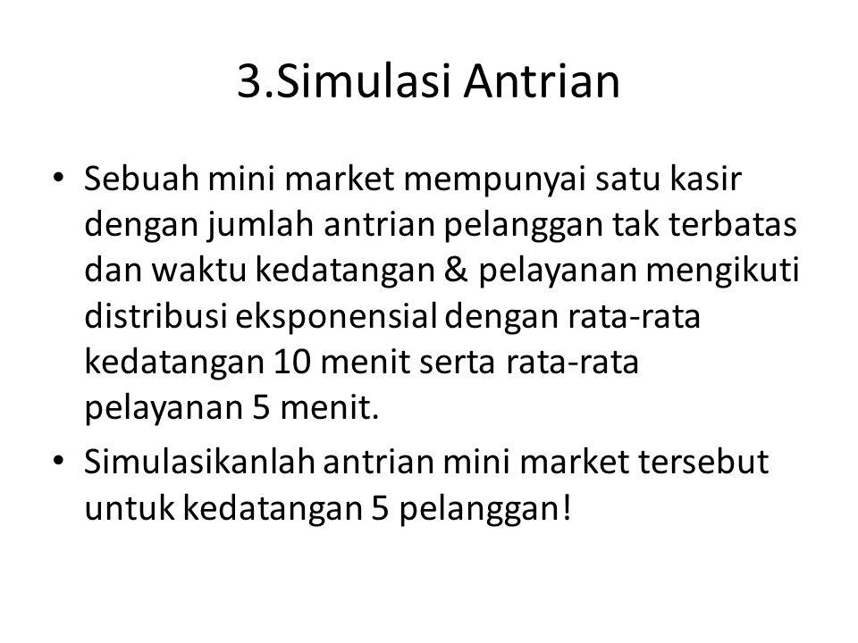 3.Simulasi Antrian Sebuah mini market mempunyai satu kasir dengan jumlah antrian pelanggan tak terbatas dan waktu kedatangan & pelayanan mengikuti distribusi eksponensial dengan rata-rata kedatangan 10 menit serta rata-rata pelayanan 5 menit.