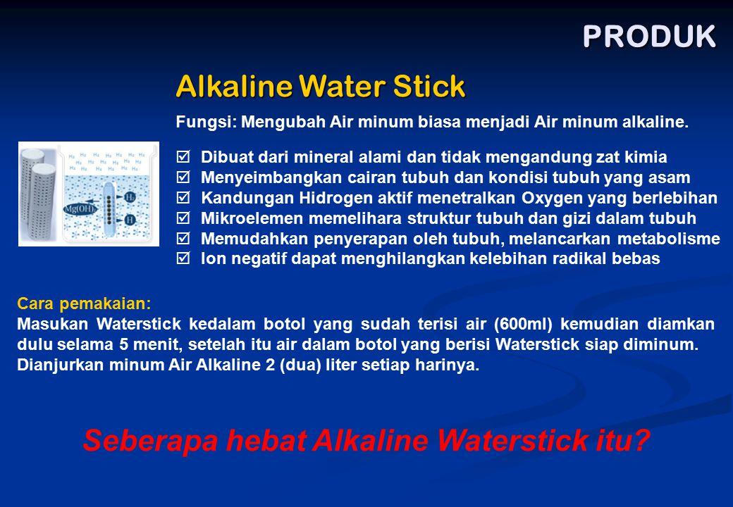 PRODUK Alkaline Water Stick  Dibuat dari mineral alami dan tidak mengandung zat kimia  Menyeimbangkan cairan tubuh dan kondisi tubuh yang asam  Kan