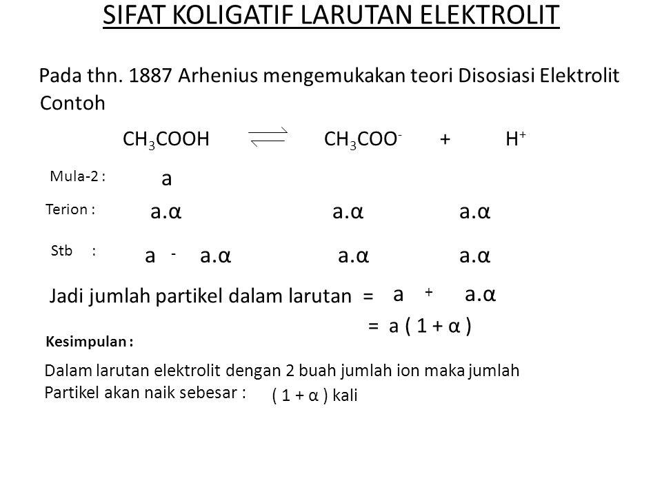 SETELAH KEGIATAN INI KAMU DAPAT : 1.Menghitung faktor Van't Hoff dari zat elektrolit.