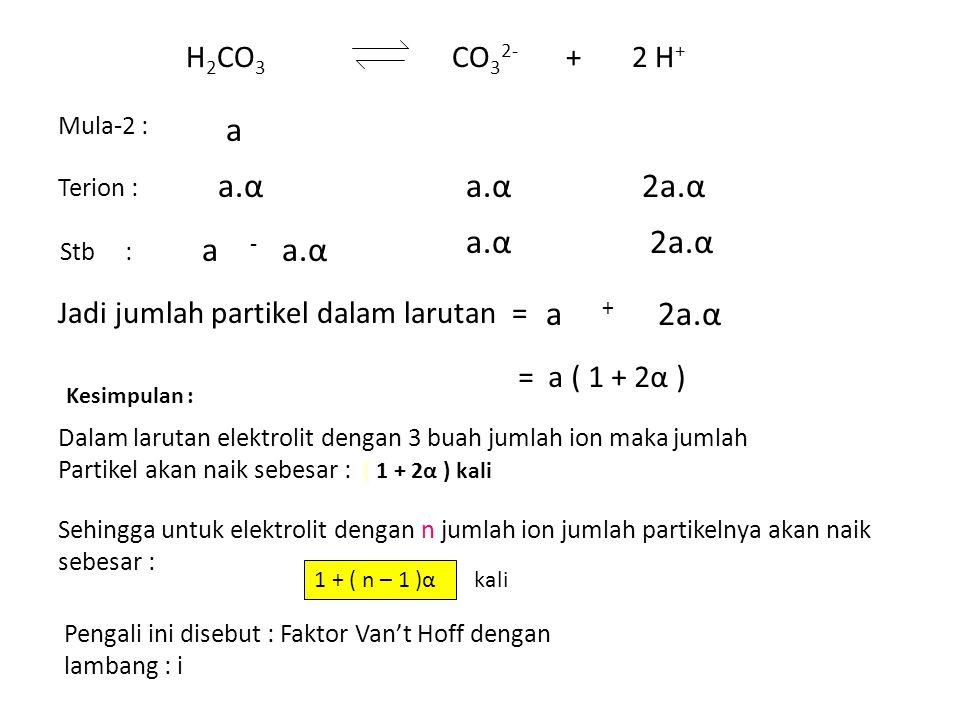 H 2 CO 3 CO 3 2- + 2 H + Mula-2 : a Terion : a.α 2a.α Stb : a - a.α 2a.α Jadi jumlah partikel dalam larutan = a + 2a.α = a ( 1 + 2α ) Kesimpulan : Dalam larutan elektrolit dengan 3 buah jumlah ion maka jumlah Partikel akan naik sebesar : ( 1 + 2α ) kali Sehingga untuk elektrolit dengan n jumlah ion jumlah partikelnya akan naik sebesar : 1 + ( n – 1 )α kali Pengali ini disebut : Faktor Van't Hoff dengan lambang : i