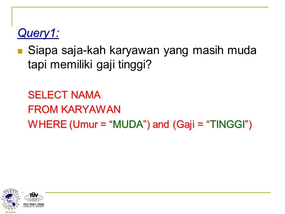 """Query1: Siapa saja-kah karyawan yang masih muda tapi memiliki gaji tinggi? SELECT NAMA FROM KARYAWAN WHERE (Umur = """"MUDA"""") and (Gaji = """"TINGGI"""")"""