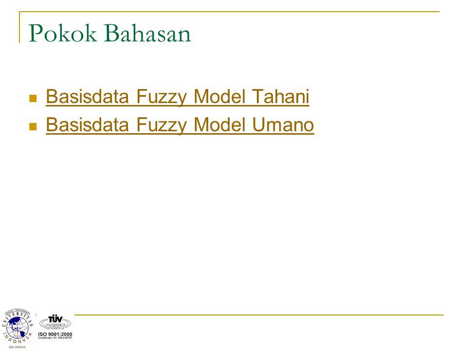 Basisdata Fuzzy: TAHANI Sebagian besar basis data standar diklasifikasikan berdasarkan bagaimana data tersebut dipandang oleh user.
