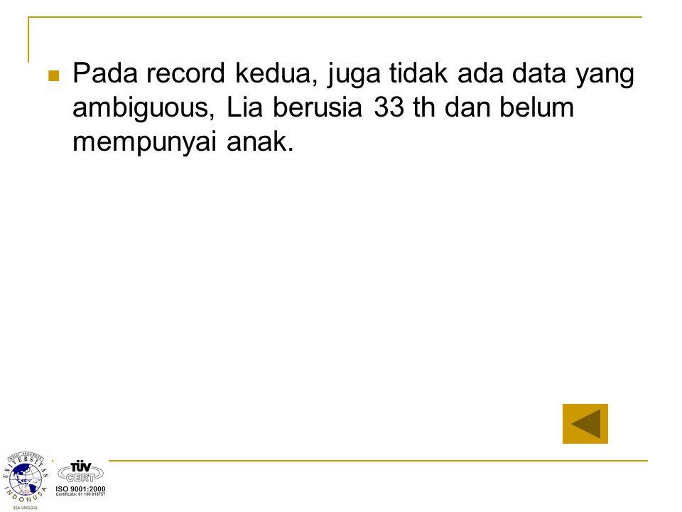 Pada record kedua, juga tidak ada data yang ambiguous, Lia berusia 33 th dan belum mempunyai anak.