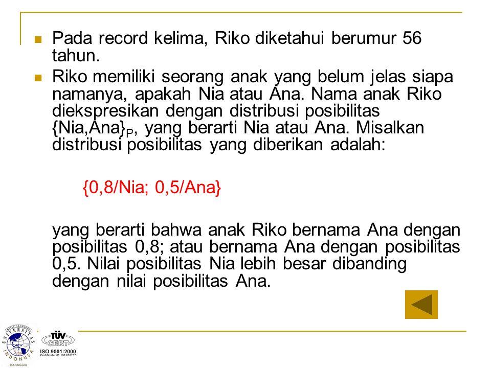 Pada record kelima, Riko diketahui berumur 56 tahun. Riko memiliki seorang anak yang belum jelas siapa namanya, apakah Nia atau Ana. Nama anak Riko di