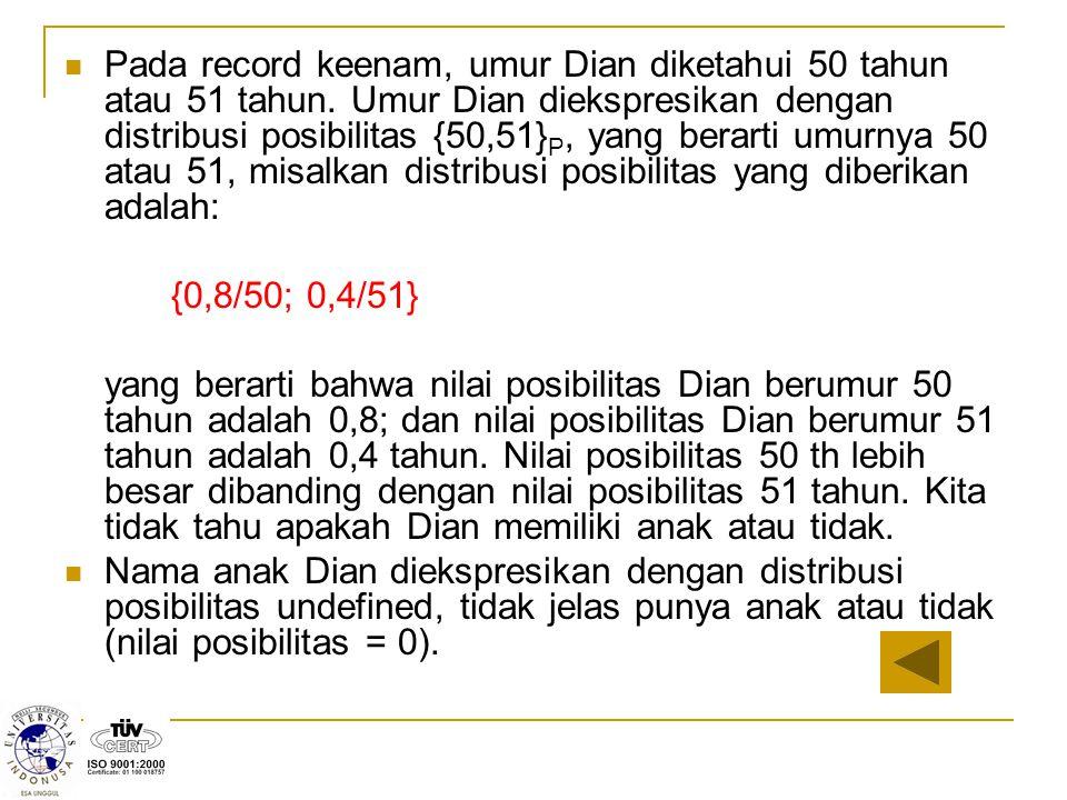 Pada record keenam, umur Dian diketahui 50 tahun atau 51 tahun. Umur Dian diekspresikan dengan distribusi posibilitas {50,51} P, yang berarti umurnya