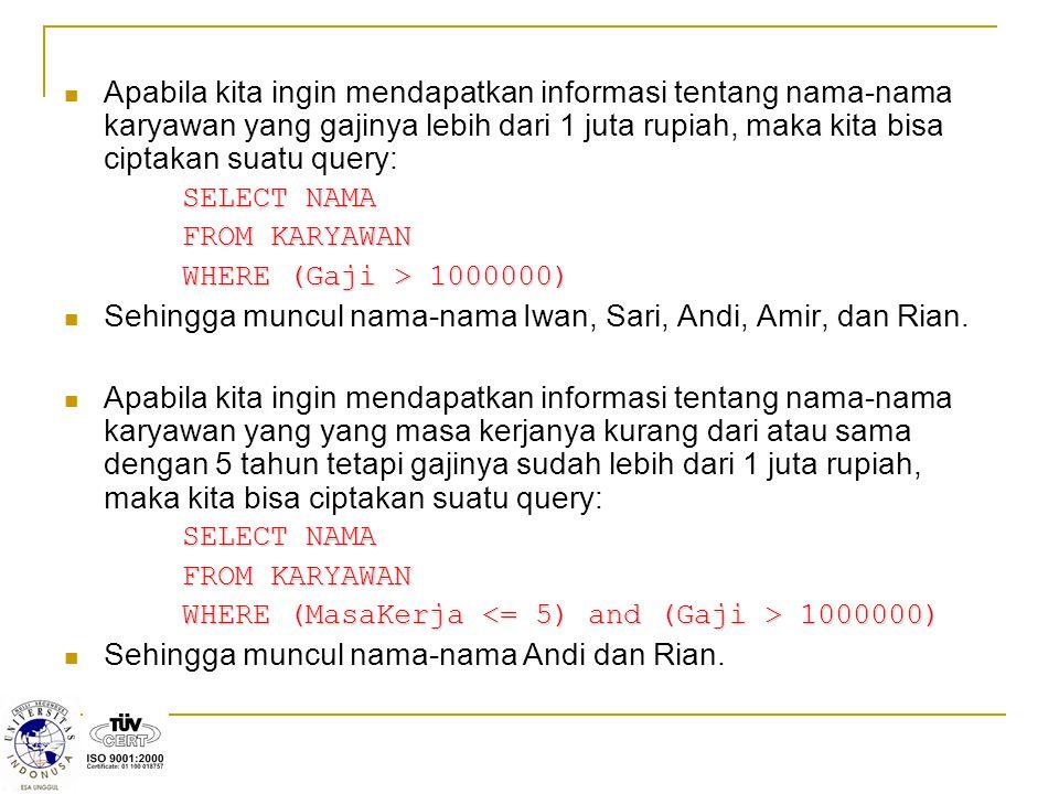 Pada record pertama tidak ada data yang ambiguous, Ani berusia 35 th dan memiliki seorang anak yang bernama Fitri.
