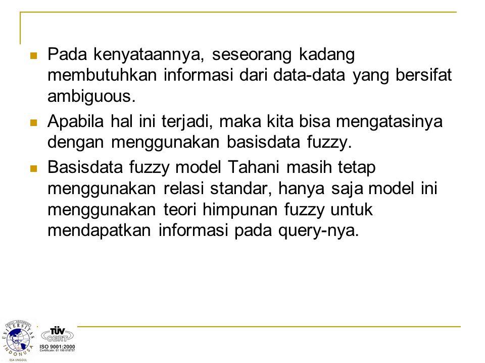 Pada kenyataannya, seseorang kadang membutuhkan informasi dari data-data yang bersifat ambiguous. Apabila hal ini terjadi, maka kita bisa mengatasinya