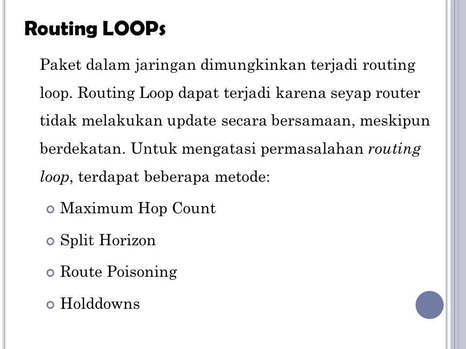 Paket dalam jaringan dimungkinkan terjadi routing loop. Routing Loop dapat terjadi karena seyap router tidak melakukan update secara bersamaan, meskip