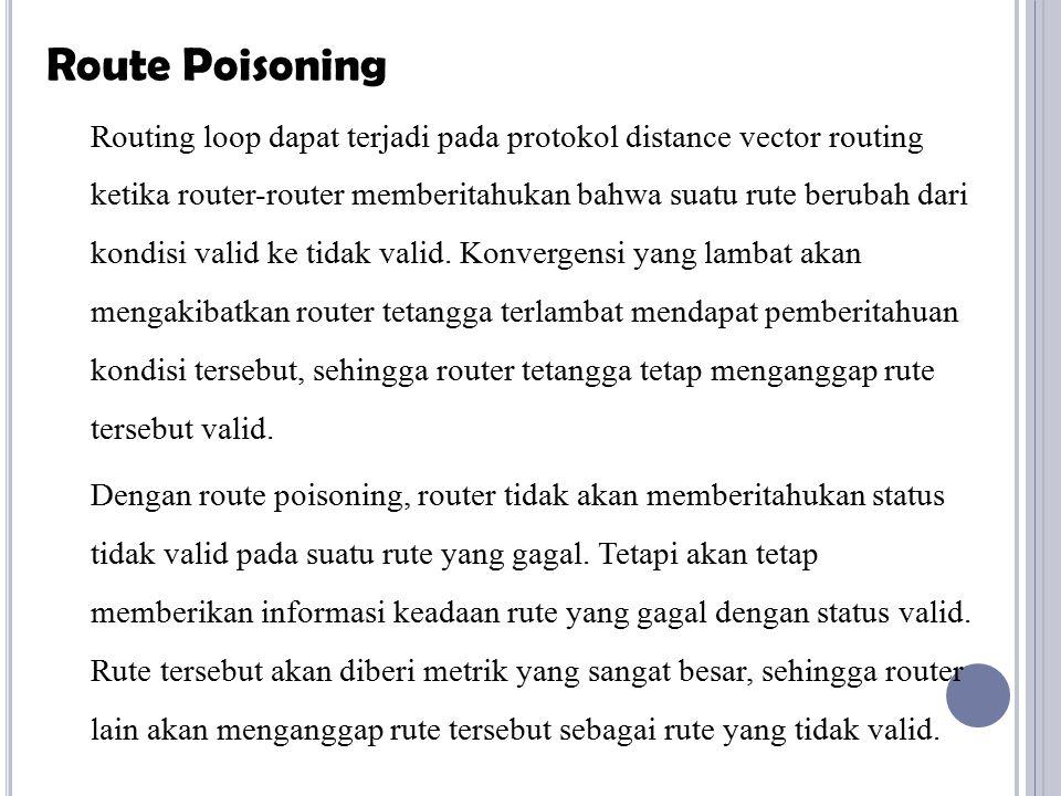 Routing loop dapat terjadi pada protokol distance vector routing ketika router-router memberitahukan bahwa suatu rute berubah dari kondisi valid ke ti
