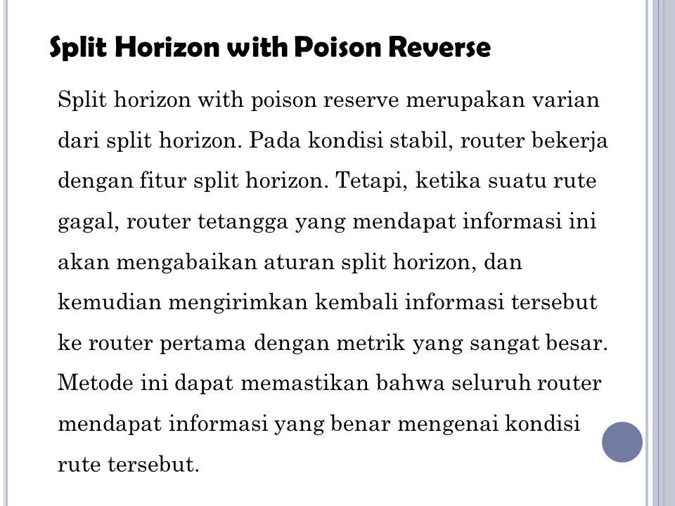 Split horizon with poison reserve merupakan varian dari split horizon. Pada kondisi stabil, router bekerja dengan fitur split horizon. Tetapi, ketika