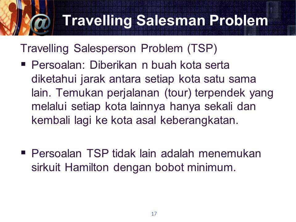 Travelling Salesman Problem Travelling Salesperson Problem (TSP)  Persoalan: Diberikan n buah kota serta diketahui jarak antara setiap kota satu sama