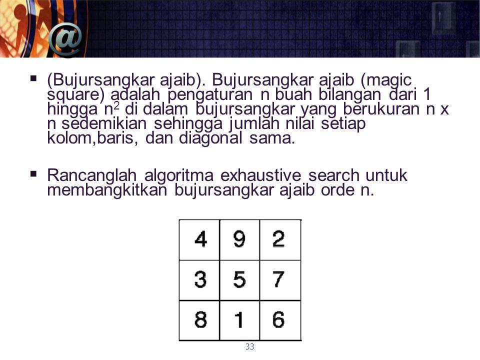  (Bujursangkar ajaib). Bujursangkar ajaib (magic square) adalah pengaturan n buah bilangan dari 1 hingga n 2 di dalam bujursangkar yang berukuran n x