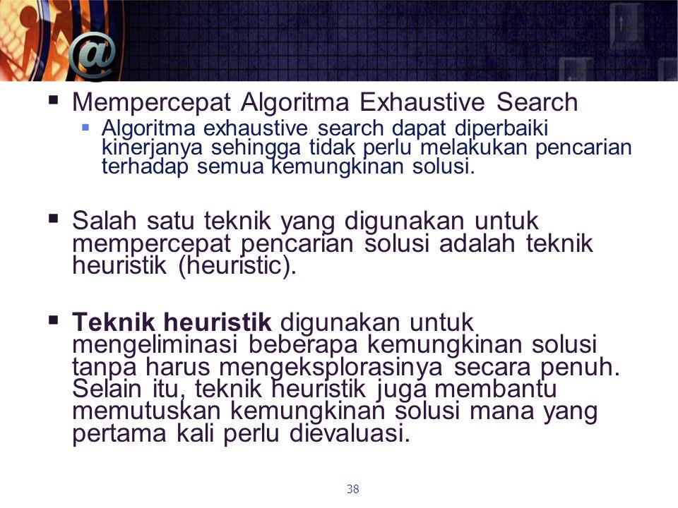  Mempercepat Algoritma Exhaustive Search  Algoritma exhaustive search dapat diperbaiki kinerjanya sehingga tidak perlu melakukan pencarian terhadap