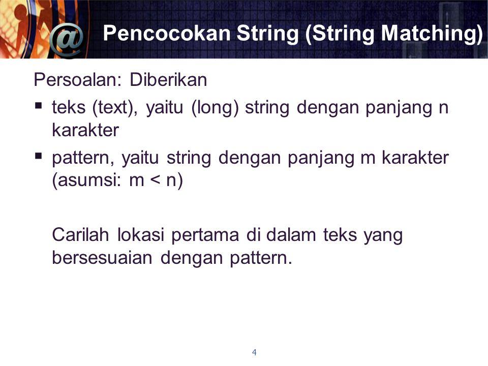 Pencocokan String (String Matching) Persoalan: Diberikan  teks (text), yaitu (long) string dengan panjang n karakter  pattern, yaitu string dengan panjang m karakter (asumsi: m < n) Carilah lokasi pertama di dalam teks yang bersesuaian dengan pattern.