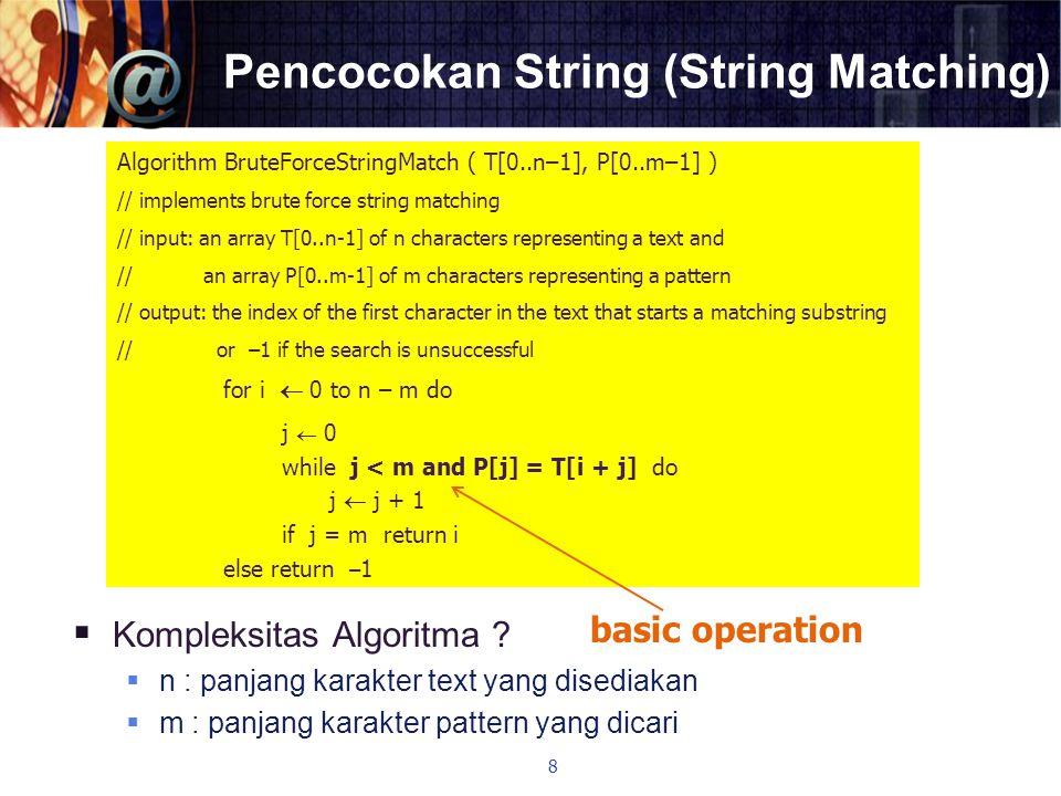 Pencocokan String (String Matching)  Kompleksitas Algoritma ?  n : panjang karakter text yang disediakan  m : panjang karakter pattern yang dicari