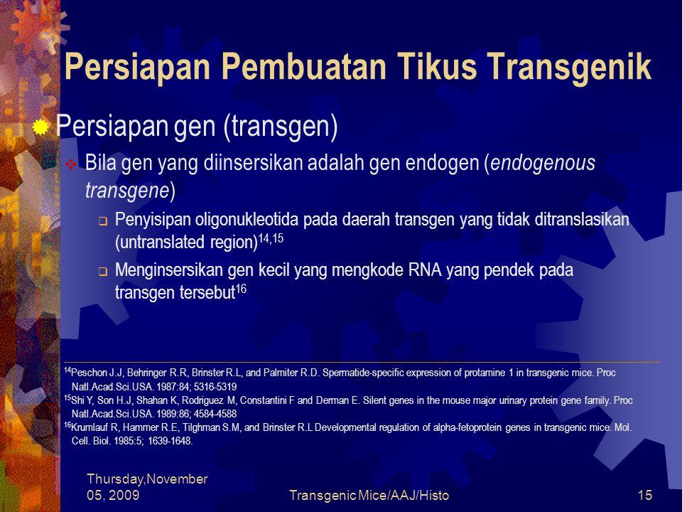 Thursday,November 05, 2009Transgenic Mice/AAJ/Histo15 Persiapan Pembuatan Tikus Transgenik  Persiapan gen (transgen)  Bila gen yang diinsersikan adalah gen endogen ( endogenous transgene )  Penyisipan oligonukleotida pada daerah transgen yang tidak ditranslasikan (untranslated region) 14,15  Menginsersikan gen kecil yang mengkode RNA yang pendek pada transgen tersebut 16 ______________________________________________________________________ 14 Peschon J.J, Behringer R.R, Brinster R.L, and Palmiter R.D.