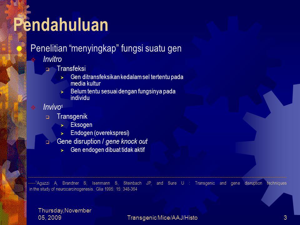 Thursday,November 05, 2009Transgenic Mice/AAJ/Histo14 Persiapan Pembuatan Tikus Transgenik  Persiapan gen (transgen)