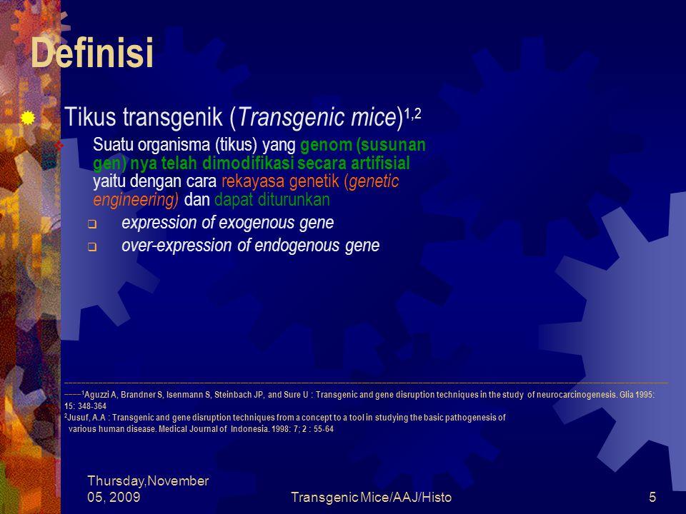 Thursday,November 05, 2009Transgenic Mice/AAJ/Histo46 Tahapan Pembuatan Tikus Transgenik  Pemeliharaan Calon Tikus Transgenik
