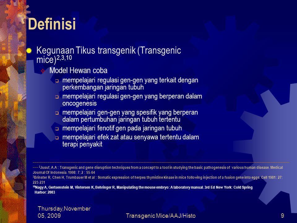 Thursday,November 05, 2009Transgenic Mice/AAJ/Histo40 Tahapan Pembuatan Tikus Transgenik  Penyuntikan transgen kedalam pronukleus telur tikus yang dibuahi (zigot)