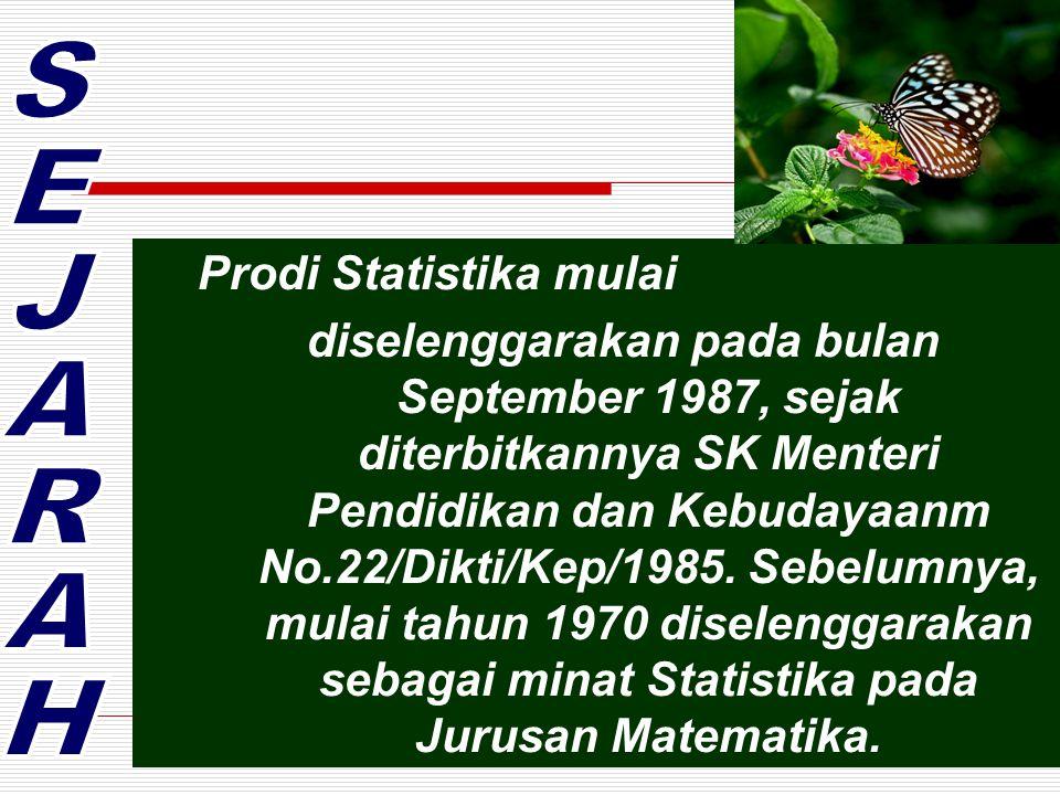 Prodi Statistika mulai diselenggarakan pada bulan September 1987, sejak diterbitkannya SK Menteri Pendidikan dan Kebudayaanm No.22/Dikti/Kep/1985.