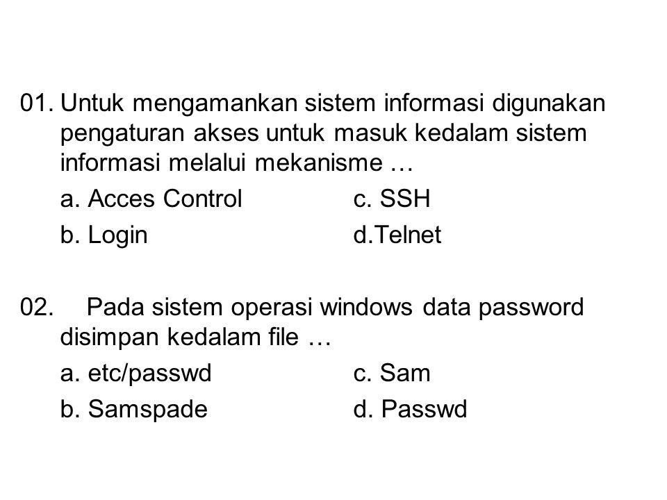 01.Untuk mengamankan sistem informasi digunakan pengaturan akses untuk masuk kedalam sistem informasi melalui mekanisme … a. Acces Control c. SSH b. L