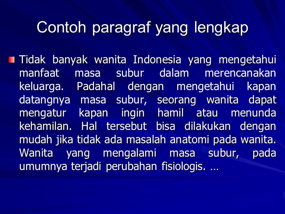 Contoh paragraf yang lengkap Tidak banyak wanita Indonesia yang mengetahui.