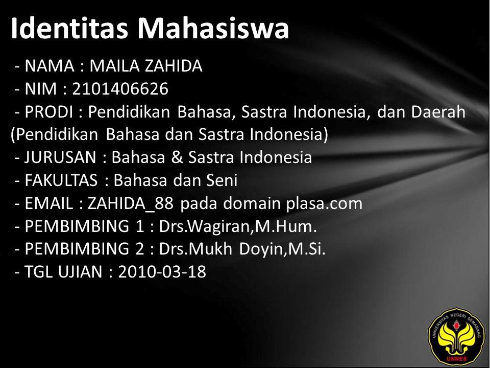 Identitas Mahasiswa - NAMA : MAILA ZAHIDA - NIM : 2101406626 - PRODI : Pendidikan Bahasa, Sastra Indonesia, dan Daerah (Pendidikan Bahasa dan Sastra I