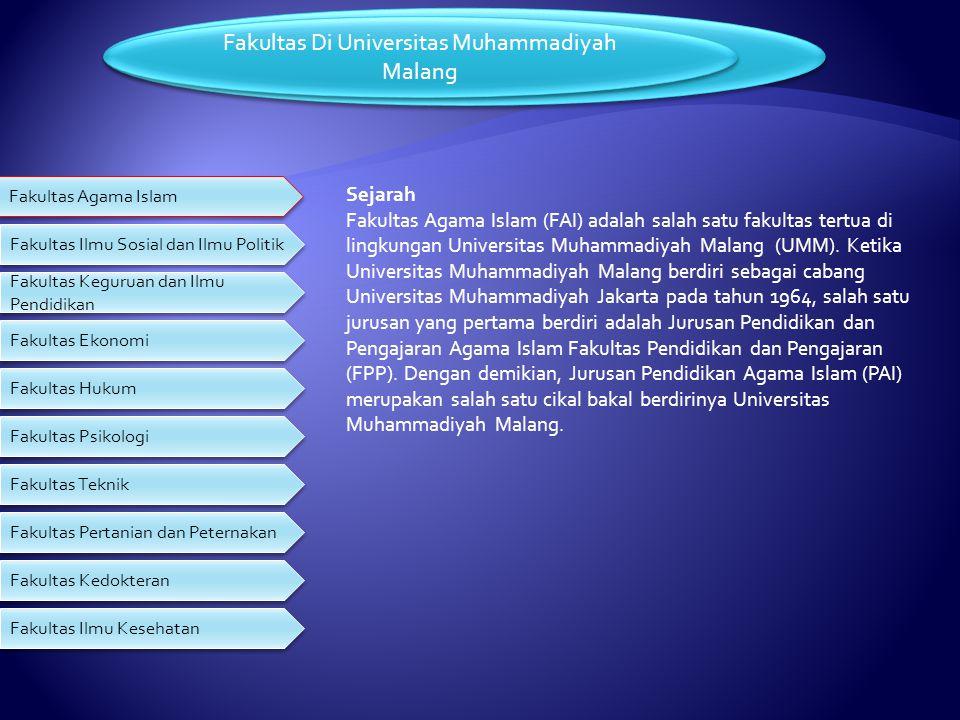 Sejarah Universitas Muhammadiyah Malang Universitas Muhammadiyah Malang (UMM) yang berdiri pada tahun 1964. merupakan salah satu amal usaha Muhammadiy