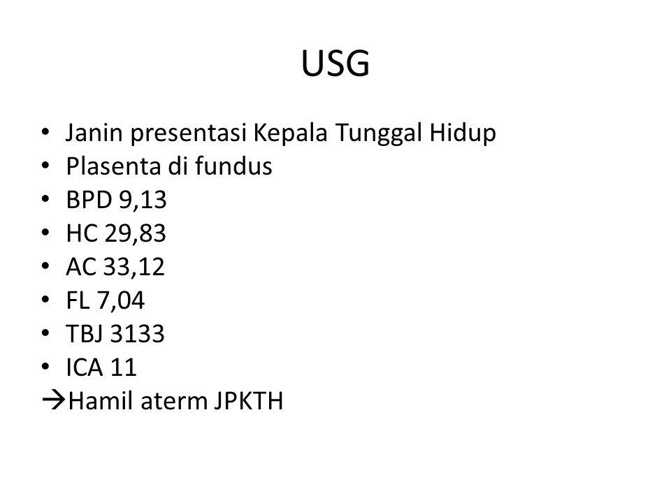 USG Janin presentasi Kepala Tunggal Hidup Plasenta di fundus BPD 9,13 HC 29,83 AC 33,12 FL 7,04 TBJ 3133 ICA 11  Hamil aterm JPKTH