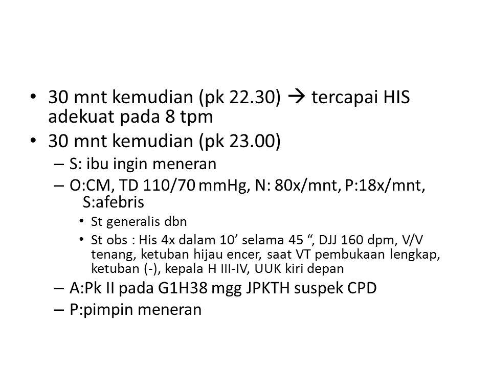 30 mnt kemudian (pk 22.30)  tercapai HIS adekuat pada 8 tpm 30 mnt kemudian (pk 23.00) – S: ibu ingin meneran – O:CM, TD 110/70 mmHg, N: 80x/mnt, P:18x/mnt, S:afebris St generalis dbn St obs : His 4x dalam 10' selama 45 , DJJ 160 dpm, V/V tenang, ketuban hijau encer, saat VT pembukaan lengkap, ketuban (-), kepala H III-IV, UUK kiri depan – A:Pk II pada G1H38 mgg JPKTH suspek CPD – P:pimpin meneran