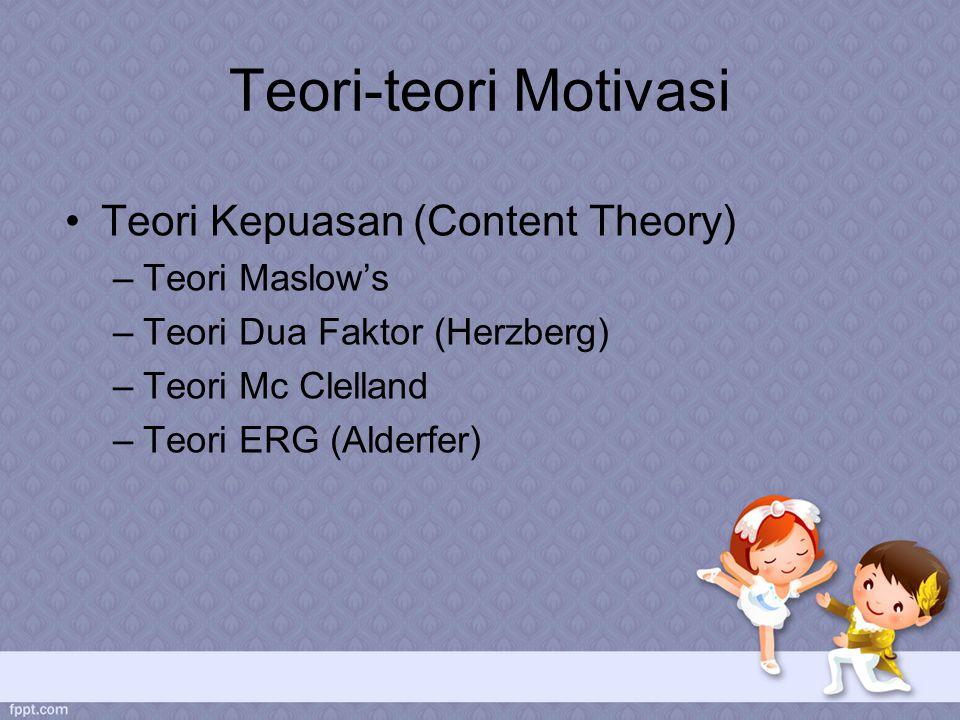 Teori-teori Motivasi Teori Kepuasan (Content Theory) –Teori Maslow's –Teori Dua Faktor (Herzberg) –Teori Mc Clelland –Teori ERG (Alderfer)