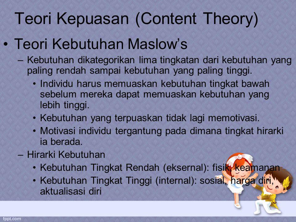 Teori Kepuasan (Content Theory) Teori Kebutuhan Maslow's –Kebutuhan dikategorikan lima tingkatan dari kebutuhan yang paling rendah sampai kebutuhan yang paling tinggi.
