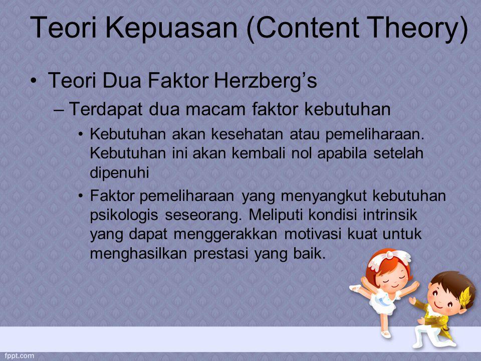 Teori Kepuasan (Content Theory) Teori Dua Faktor Herzberg's –Terdapat dua macam faktor kebutuhan Kebutuhan akan kesehatan atau pemeliharaan.