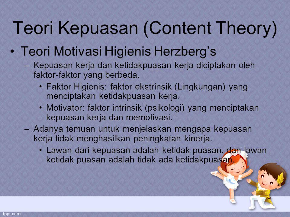 Teori Kepuasan (Content Theory) Teori Motivasi Higienis Herzberg's –Kepuasan kerja dan ketidakpuasan kerja diciptakan oleh faktor-faktor yang berbeda.