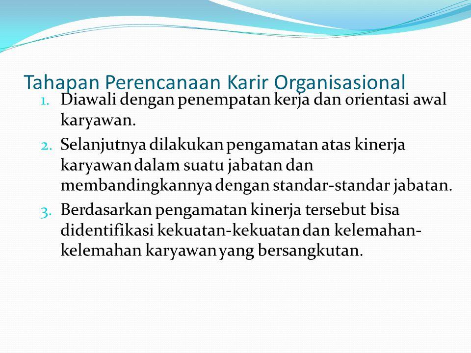 Tahapan Perencanaan Karir Organisasional 1. Diawali dengan penempatan kerja dan orientasi awal karyawan. 2. Selanjutnya dilakukan pengamatan atas kine