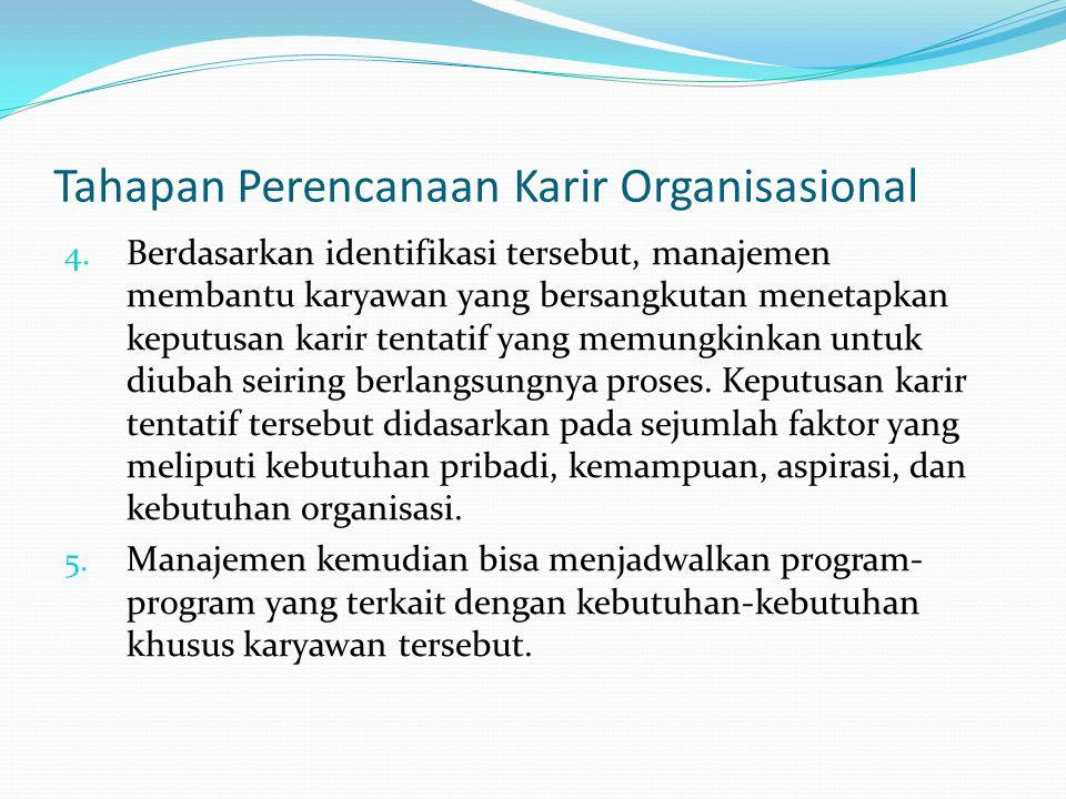 Tahapan Perencanaan Karir Organisasional 4. Berdasarkan identifikasi tersebut, manajemen membantu karyawan yang bersangkutan menetapkan keputusan kari