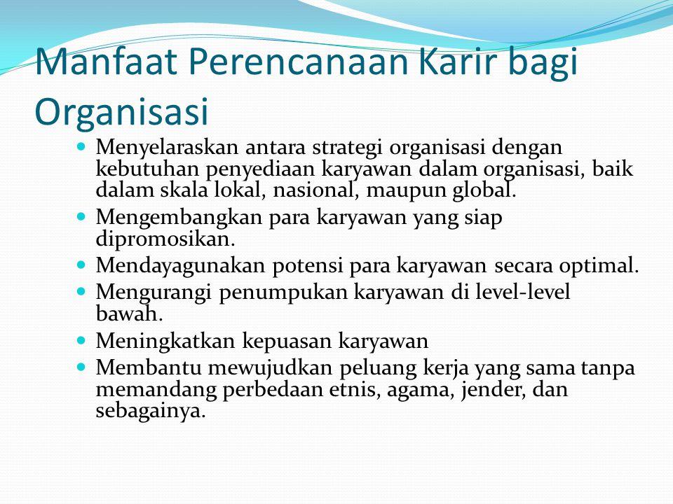 Manfaat Perencanaan Karir bagi Organisasi Menyelaraskan antara strategi organisasi dengan kebutuhan penyediaan karyawan dalam organisasi, baik dalam s