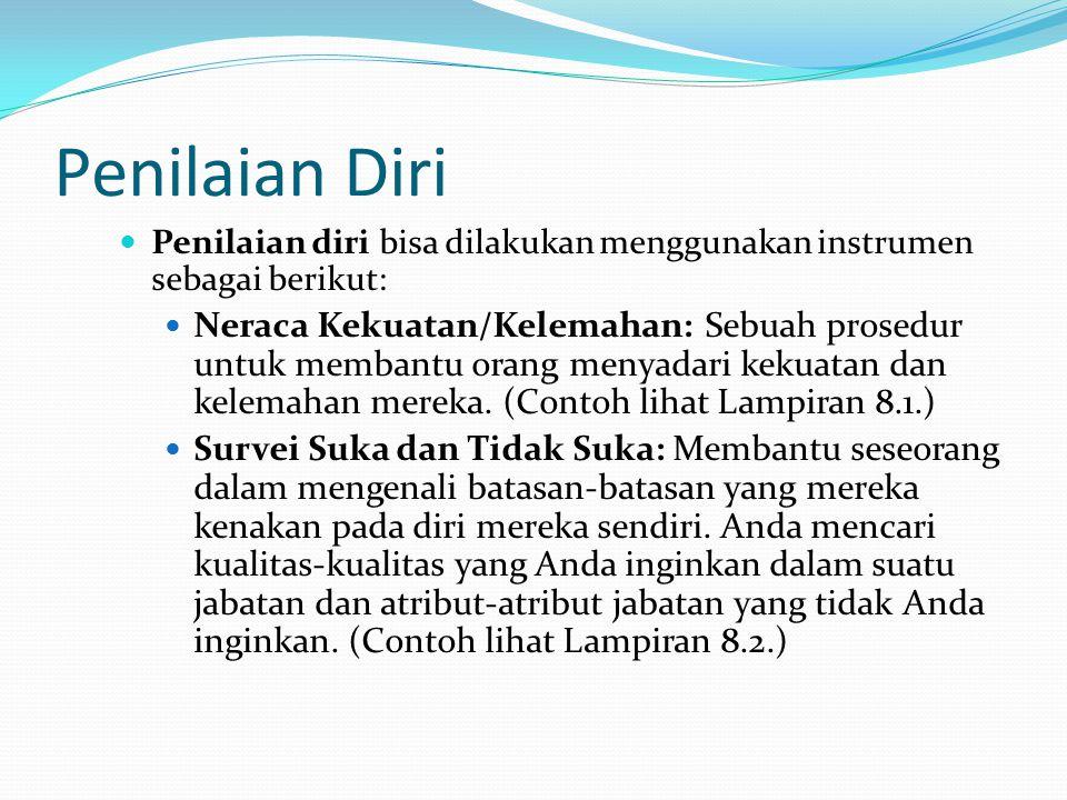 Penilaian Diri Penilaian diri bisa dilakukan menggunakan instrumen sebagai berikut: Neraca Kekuatan/Kelemahan: Sebuah prosedur untuk membantu orang me