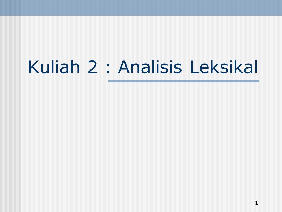 1 Kuliah 2 : Analisis Leksikal