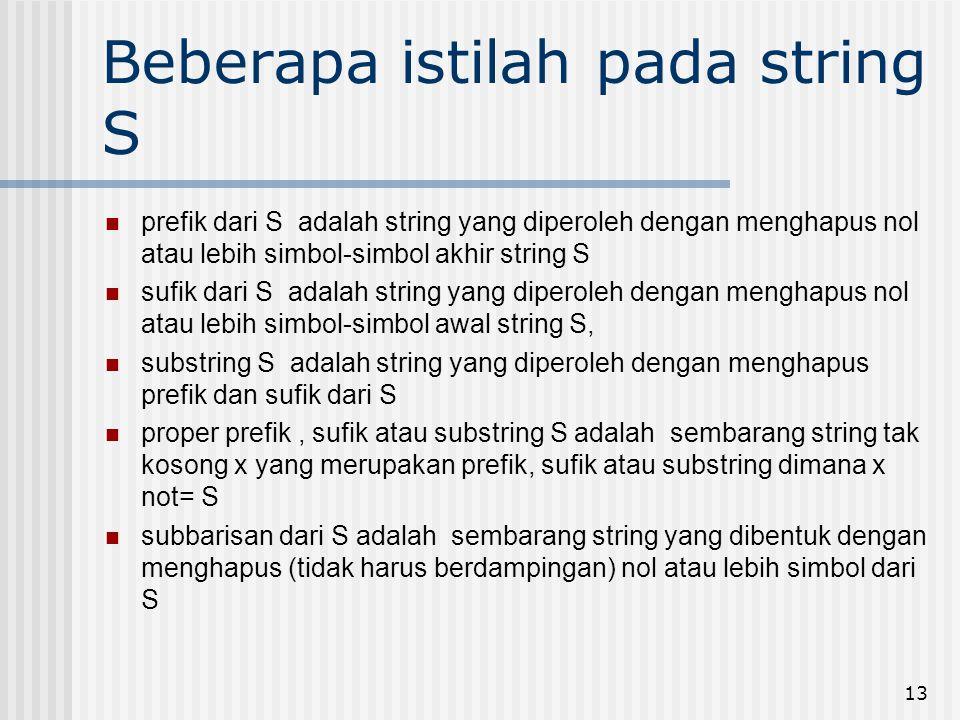13 Beberapa istilah pada string S prefik dari S adalah string yang diperoleh dengan menghapus nol atau lebih simbol-simbol akhir string S sufik dari S