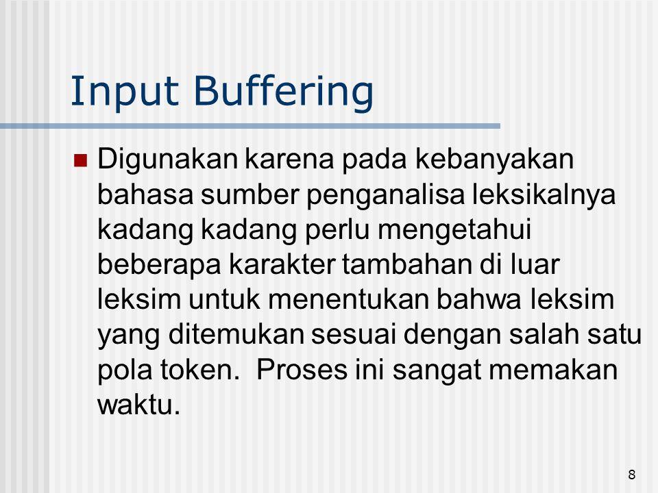8 Input Buffering Digunakan karena pada kebanyakan bahasa sumber penganalisa leksikalnya kadang kadang perlu mengetahui beberapa karakter tambahan di