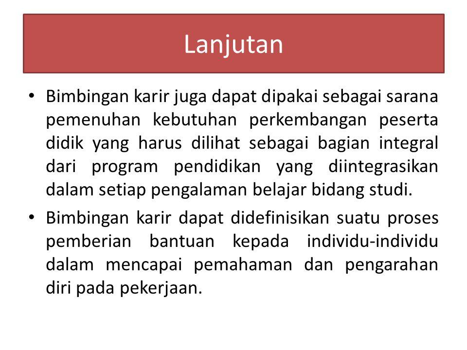 Lanjutan Bimbingan karir menurut Miller dalam Rosdi Achmad Syuhada (1988:15). Bimbingan didefinisikan sebagai suatu proses pemberian bantuan kepada in