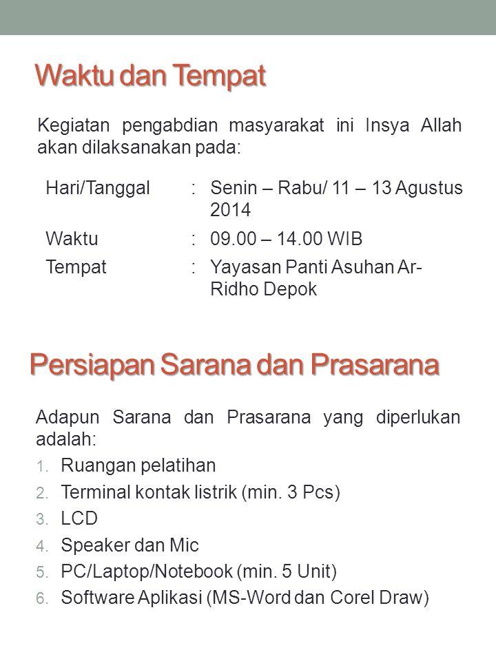 Waktu dan Tempat Kegiatan pengabdian masyarakat ini Insya Allah akan dilaksanakan pada: Hari/Tanggal:Senin – Rabu/ 11 – 13 Agustus 2014 Waktu:09.00 –