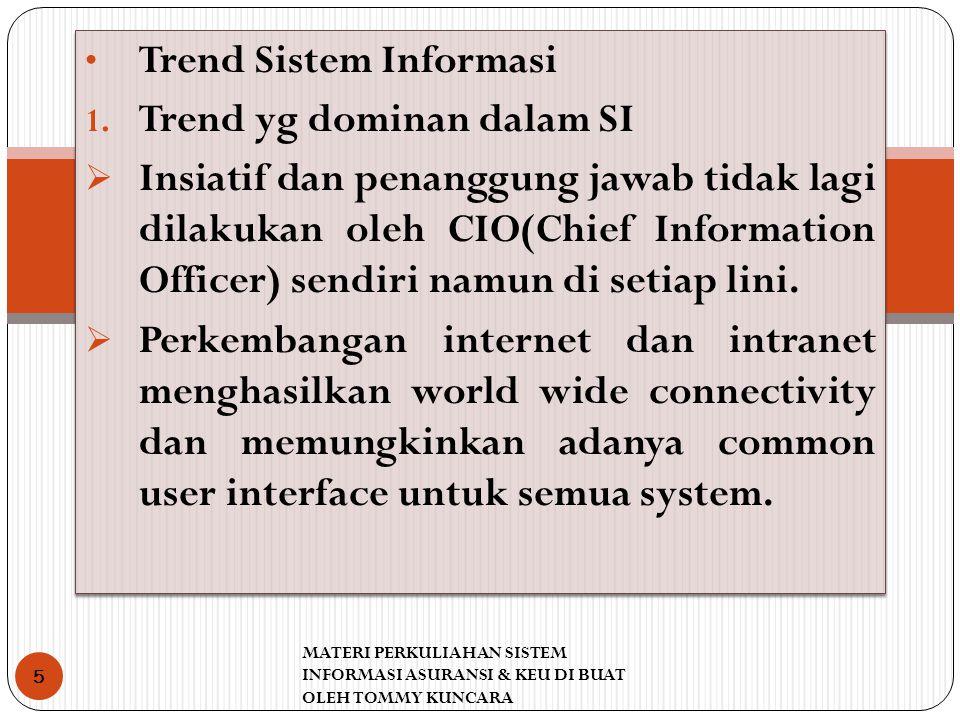 Trend Sistem Informasi 1. Trend yg dominan dalam SI  Insiatif dan penanggung jawab tidak lagi dilakukan oleh CIO(Chief Information Officer) sendiri n
