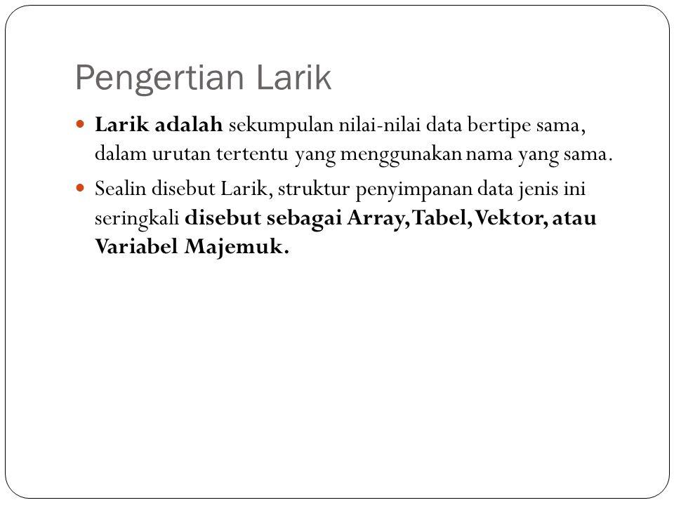 Pengertian Larik Larik adalah sekumpulan nilai-nilai data bertipe sama, dalam urutan tertentu yang menggunakan nama yang sama.